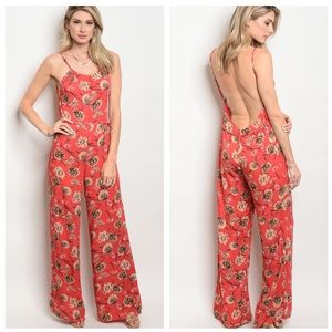 ❌CLEARANCE❌ TAN CORAL JUMPSUIT